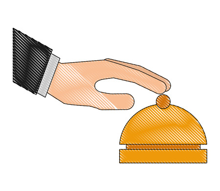 hand touching hotel bell service vector illustration drawing