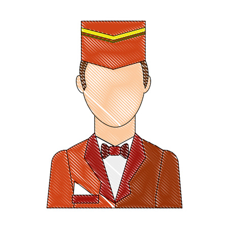 hotel staff bellboy in uniform portrait vector illustration drawing Çizim