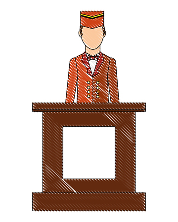 hotel reception bellboy service professional vector illustration drawing Banque d'images - 103706328