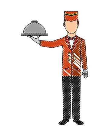 hotel service staff waiter worker vector illustration drawing Ilustrace