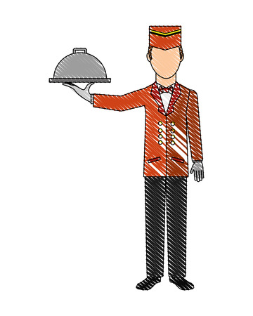 hotel service staff waiter worker vector illustration drawing Illustration