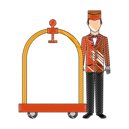hotel service bellboy with luggage trolley vector illustration drawing