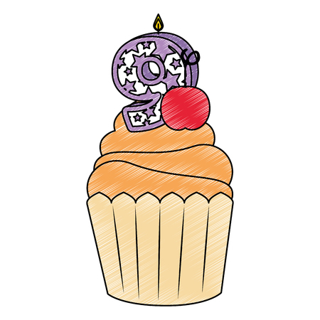 sweet cupcake with candle number nine vector illustration design Çizim