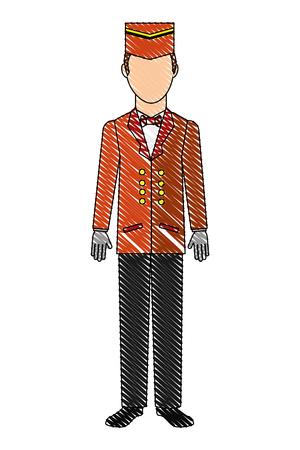 bellboy hotel service in uniform vector illustration drawing Stock Illustratie