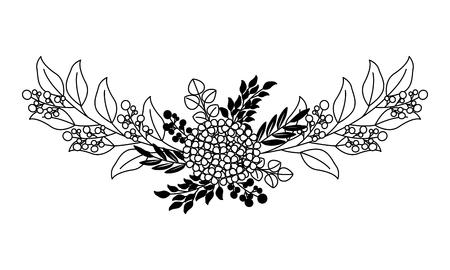beautiful arrangement flower berries leaves floral vector illustration black and white Ilustração