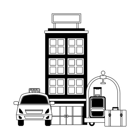 accommodation building luxury hotel taxi luggage trolley vector illustration black and white