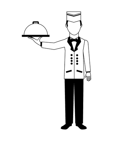 hotel service staff waiter worker vector illustration black and white