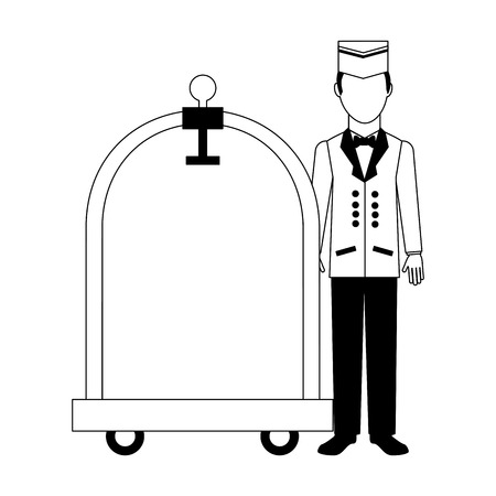 hotel service bellboy with luggage trolley vector illustration black and white