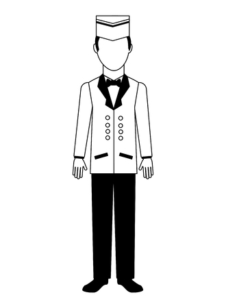 bellboy hotel service in uniform vector illustration black and white