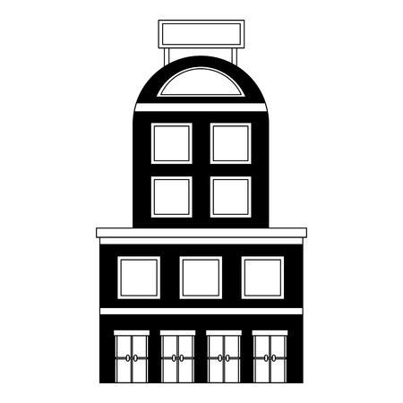 hotel building facade billboard in roof vector illustration black and white