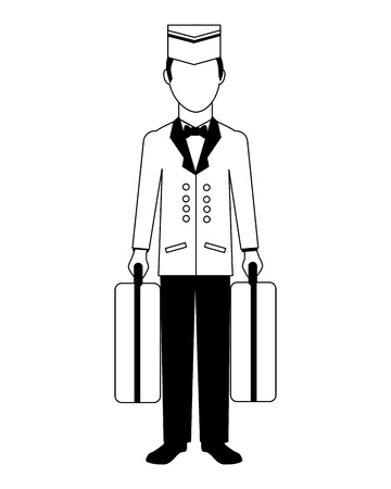 hotel bellboy carrying suitcases service vector illustration black and white 스톡 콘텐츠 - 103706369