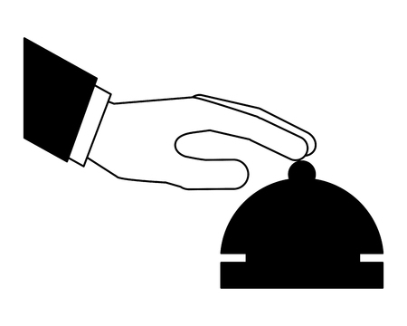 hand touching hotel bell service vector illustration black and white Vectores