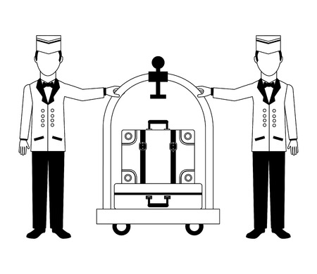 hotel staff bellboys trolley and suitcases vector illustration black and white