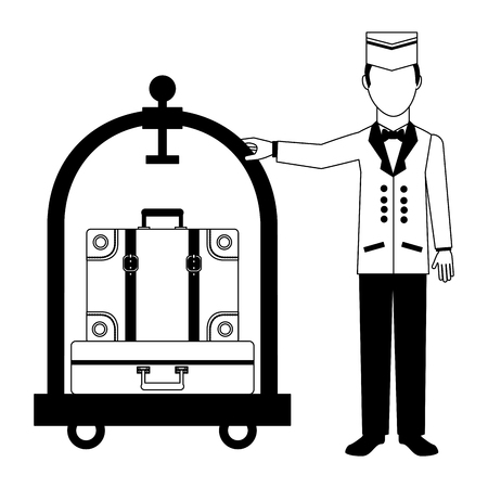 hotel bellboy and luggage trolley service vector illustration black and white