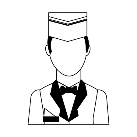 hotel staff bellboy in uniform portrait vector illustration black and white Illustration