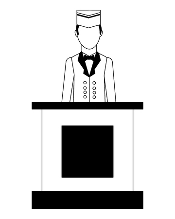 hotel reception bellboy service professional vector illustration black and white