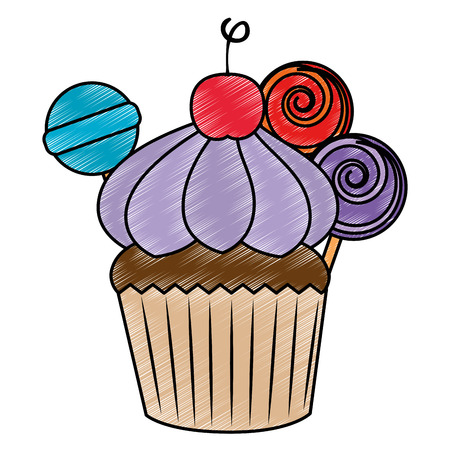 sweet cupcake pastry with candies vector illustration design Ilustração