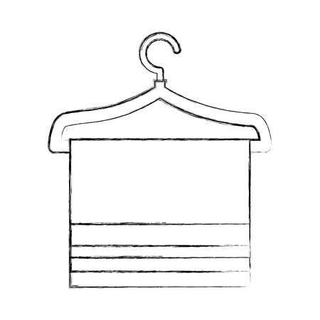 wire clothes hook with towel isolated icon vector illustration design Ilustração