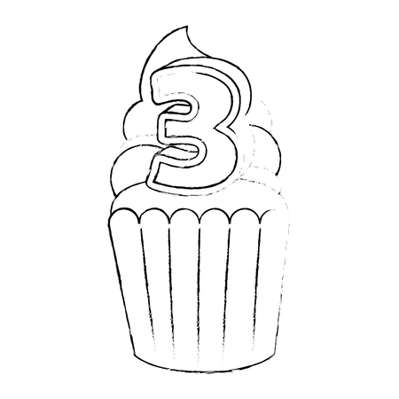 sweet cupcake with candle number three vector illustration design