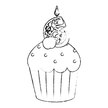 sweet cupcake with candle number six vector illustration design Illustration