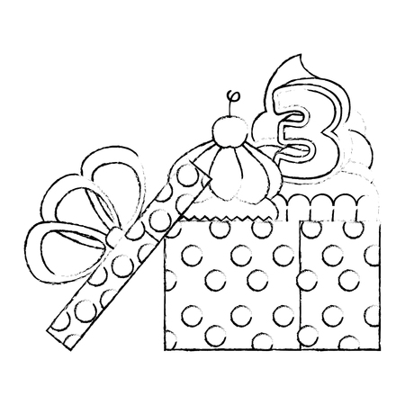 sweet cupcake with candle number three in gift vector illustration design