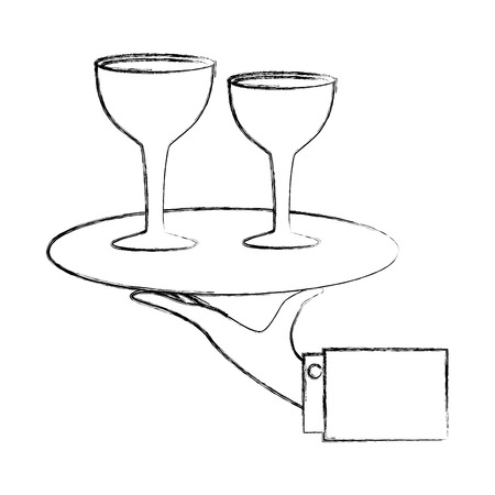 hand with wine cups in tray isolated icon vector illustration design Foto de archivo - 103706452
