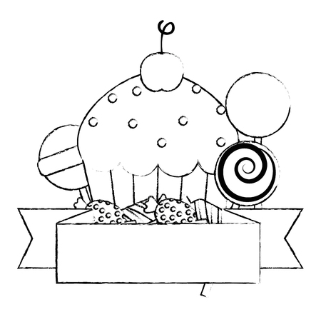 sweet cupcake pastry with candies vector illustration design  イラスト・ベクター素材