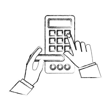 hands with access digital door panel vector illustration design