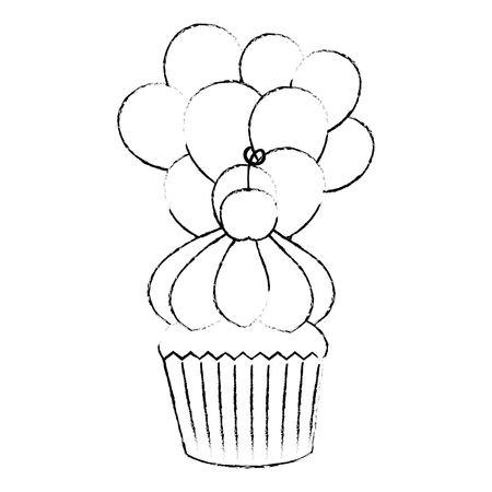 sweet cupcake pastry with balloons helium vector illustration design