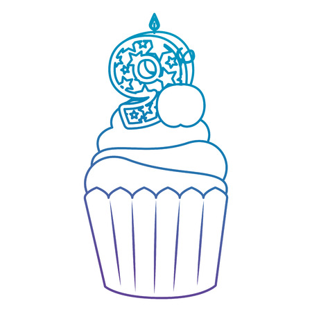 sweet cupcake with candle number nine vector illustration design  イラスト・ベクター素材