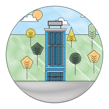building hotel with landscape isolated icon vector illustration design