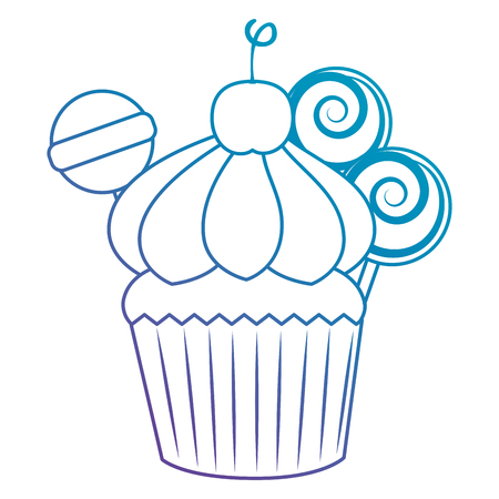 sweet cupcake pastry with candies vector illustration design Imagens - 103706822