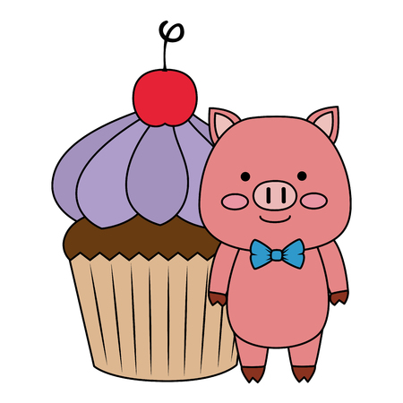 sweet cupcake with cute pig vector illustration design