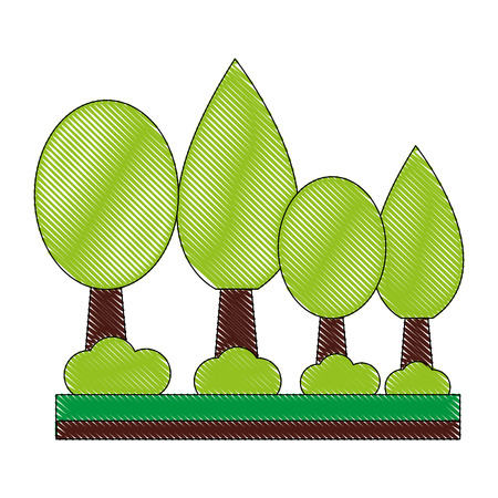 trees plant isolated icon vector illustration design 向量圖像