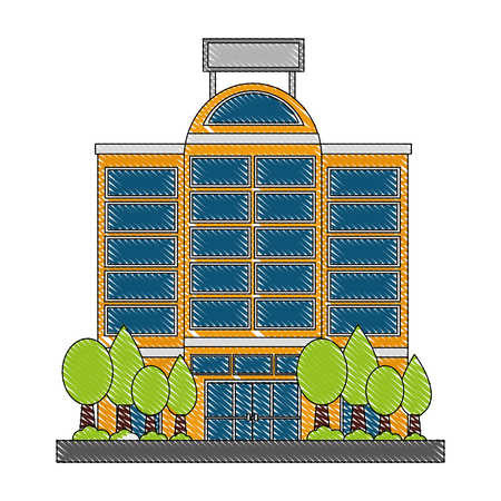 building hotel with tree plant isolated icon vector illustration design
