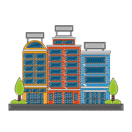 buildings hotel with trees plant isolated icon vector illustration design 일러스트