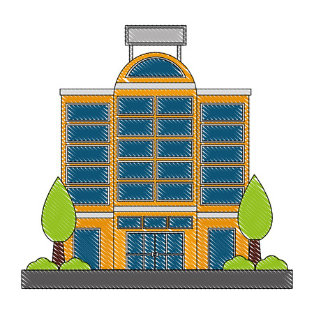 building hotel with trees plant isolated icon vector illustration design Illustration