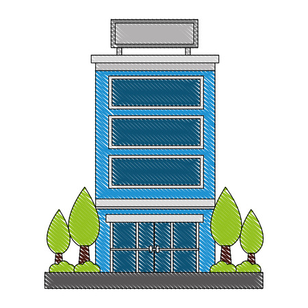 building hotel with trees plant isolated icon vector illustration design  イラスト・ベクター素材