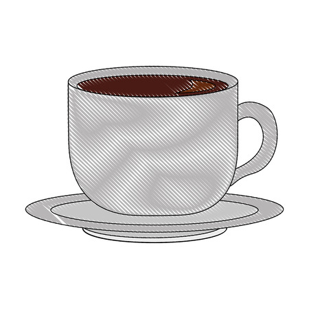 delicious coffee cup with dish isolated icon vector illustration design