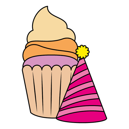 sweet cupcake pastry with party hat vector illustration design