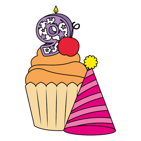 sweet cupcake with candle number nine and hat vector illustration design