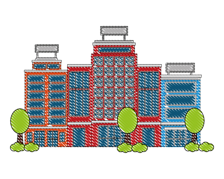 buildings hotel with trees plant isolated icon vector illustration design  イラスト・ベクター素材