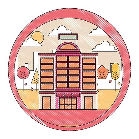 building hotel with cityscape isolated icon vector illustration design  イラスト・ベクター素材