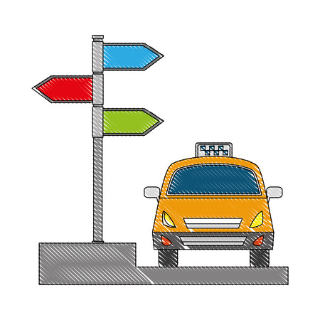 taxi car service with arrow signaling isolated icon vector illustration design Imagens - 103707436