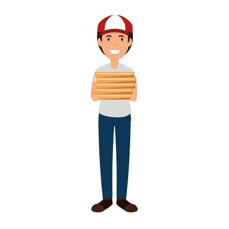 delivery worker with pizza boxes avatar character vector illustration design Ilustração