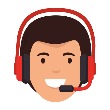 logistic worker with headset head character vector illustration design