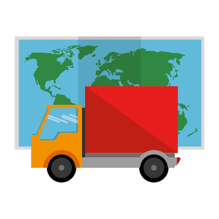 delivery truck with paper map vector illustration design Illustration