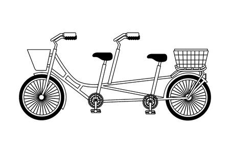 retro tandem bicycle icon vector illustration design