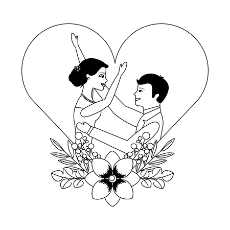 married couple with floral decoration in heart vector illustration design Фото со стока - 103714837