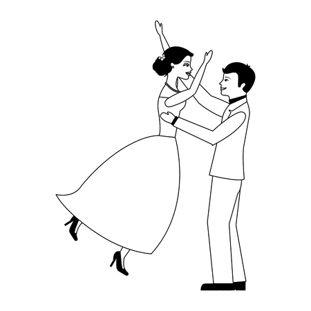 married couple celebrating avatar character vector illustration design